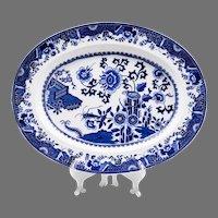 1850 Copeland Blue & White Transferware Platter, Grasshopper Pattern