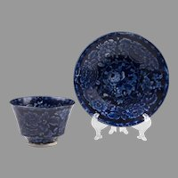 18th C. Dark Blue First Period Worcester Transferware Tea Bowl And Saucer