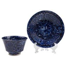 18th C. Dark Blue First Period Worcester Transferware Tea Bowl And Saucer