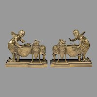 Pair of 19th Century Louis XV Bronze Chenets, Cherub In Merbaby Form