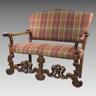 Vintage Hand Carved Walnut Dutch Baroque Style Settee