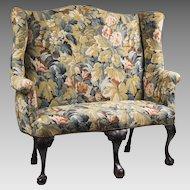 18th C. Irish Georgian Porter's Bench With Needlepoint Upholstery
