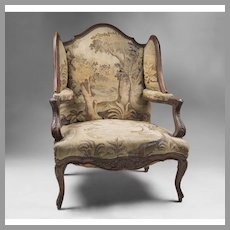 Early 19th C. French Walnut Louis XV Fauteuil en Confessionnal Or Armchair