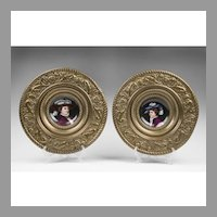 Pair of Mid 19th C. French Enamel Portrait Plates In Repousse Embossed Frames
