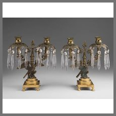 Pair of Late 19th C. French Empire Bronze Candelabras With Eagles