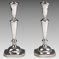 Pair of American Sterling Weighted Candlesticks