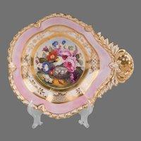 19th C. Paris Porcelain Hand Painted Shrimp Dish