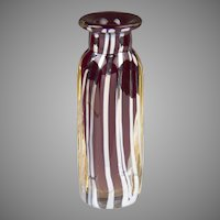 Ruby Glass Art Vase With Silver LInes