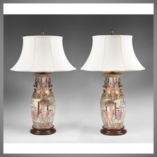 Pair of Rose Mandarin Chinese Export Vases Fitted As Lamps