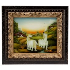 19th C. Reverse Painting Of Horses On Glass