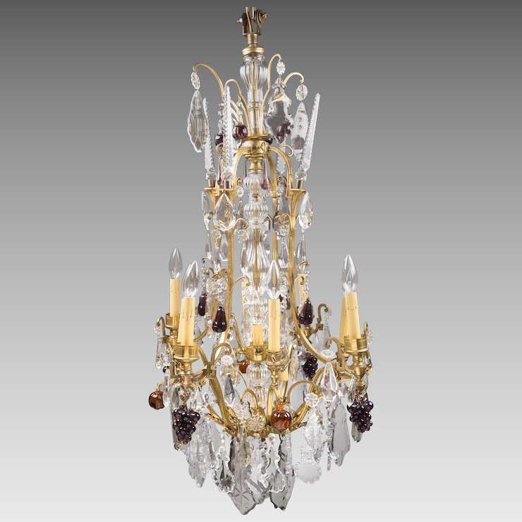19th Louis XV Style Bronze And Baccarat Crystal Chandelier - 19th Louis XV Style Bronze And Baccarat Crystal Chandelier : Pia's