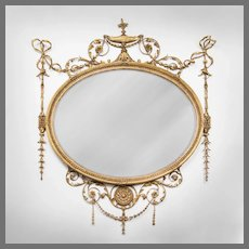 George III English Adams Style Oval Mirror