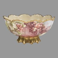 French Haviland Limoges Hand Painted Punch Bowl