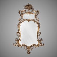 19th C. Giltwood Carved Rococo Pier Mirror