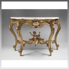 Italian 18th C. Giltwood Hand Carved Console Table With Marble Cover