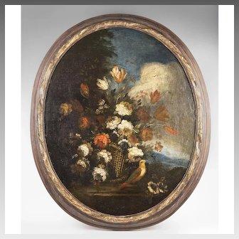 Late 18th - 19th C. Floral Still Life Oil On Panel After Francesco de Guardi
