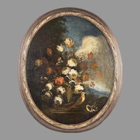 Late 18th - 19th C. Floral Still Life Oil On Panel After Francesco de Guardi