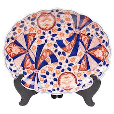 Meiji Period Japanese Imari Platter With Scalloped Rim