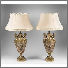 Pair of Napoleon III Sienna Marble Urns Mounted In Bronze Fitted As Lamps