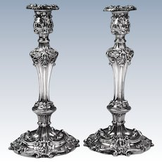 English Georgian Style Silverplate Candlesticks