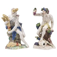 Pair of Nymphenburg Porcelain Figurines of Bacchus and Ceres After Dominik Auliczek