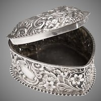 19th C. H. Matthews Sterling Repousse Heart Box