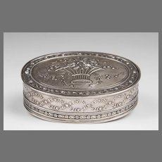 19th C. French Sterling Silver Repousse Trinket Box