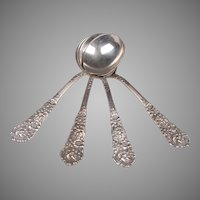 Set Of 4 Reed & Barton Trajan Sterling Silver Bouillon Spoons