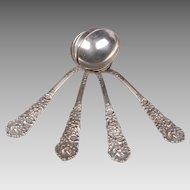 Set Of 4 Reed & Barton Trajan Sterling Silver Bouillon Spoons