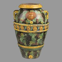 Large Italian Terra-cotta Tin Glazed Cistern Or Urn