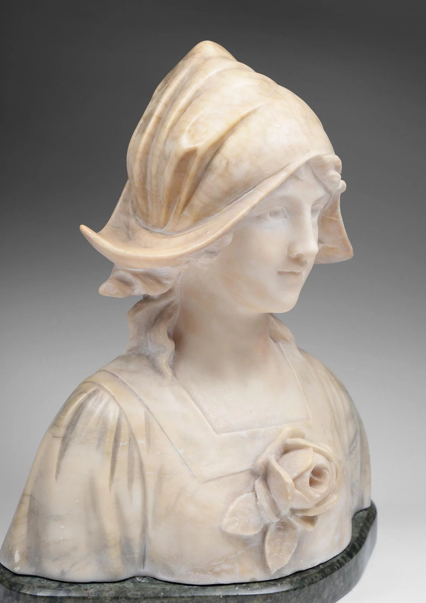 Adolfo Cipriani Italian Marble And Alabaster Bust Pia S