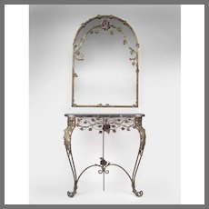 Mid 20th C. French Wrought Iron Marble Top Console With Mirror En Suite