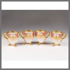 Set of 4 19th C. German Pots de Créme; Heufel Decorated