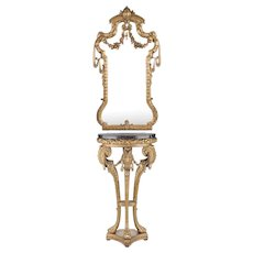 Late 19th C. Louis XV Giltwood and Composition Petite Mirror and Console