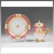 19th C. German Porcelain Pot de Creme and Saucer; Heufel Decorated