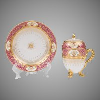19th C. German Porcelain Pot de Creme and Saucer; Heufel Decorated