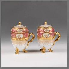 Pair of 19th C. German Porcelain Pots de Creme; Heufel Decorated