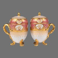 19th C. German Porcelain Pot de Creme; Heufel Decorated