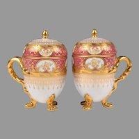 Pair of 19th C. German Porcelain Pots de Créme; Heufel Decorated