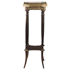Early 20th C. French Galleried Pedestal Table With Marble Top