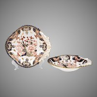 Pair of Late 19th C. King's Pattern Derby Shell Shaped Dessert Dishes