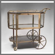 "Mid 20th C. French Brass ""Drinks and Dessert"" Trolley"