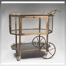 """Mid 20th C. French Brass """"Drinks and Dessert"""" Trolley"""