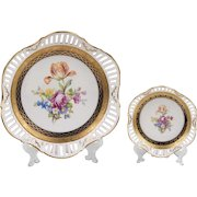 Pair of Porcelaine de Saxe Hand Painted Reticulated Bowls