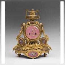Samuel Marti et Cie, Paris Bronze Mantle Clock With Porcelain Plaques