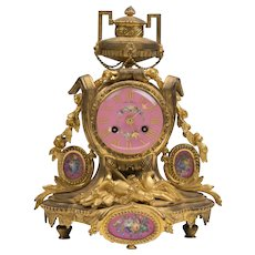 Samuel Marti et Cie, Paris Bronze Mantle Clock With Porcelain Plaques