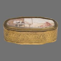 19th C. French Gilt Bronze Trinket Box With Hand Painted Top