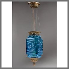 Victorian Retracting Hall Lamp, Blue Blown Molded Glass Shade