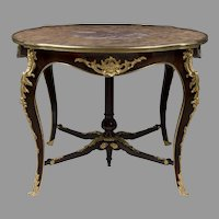 19th C. Louis XV Ormolu Mounted Center Table With Marble Top