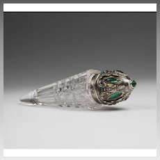 German Cut Glass Lay Down Scent Bottle With Jeweled Sterling Top